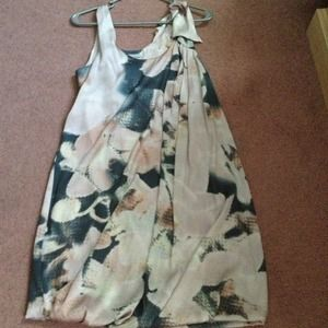 H&M pink and grey silk patterned dress