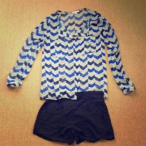 REDUCED PRICE Sheer Blue Chevron Stripe Blouse