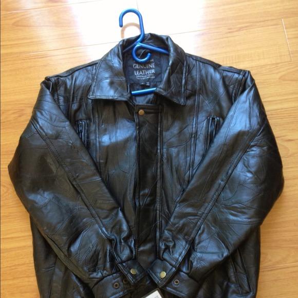 b80caaa6e Maxam Italian Mosaic black mens leather jacket NWT