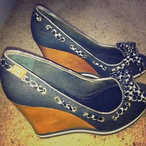 Blue Wedge Coach Shoes