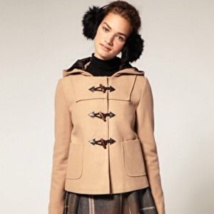 ASOS Toggle Coat with Hood in Camel