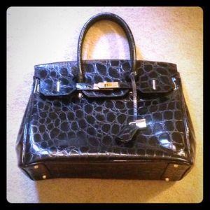 Terrida Black Leather Crocodile Embossed Bag