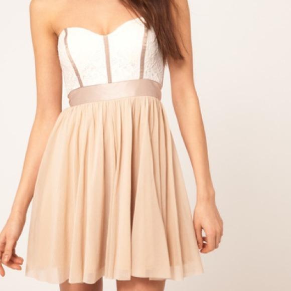 59% off ASOS Dresses &amp Skirts - Beige/White Lace Strapless Skater ...