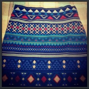 Fitted skirts, tribal print, forever 21