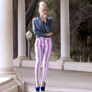Motel Rocks Pants - ✨HOST PICK✨ Pink & white striped skinny pants