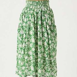 Anthropologie Green White Skirt by Porridge