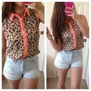 Tops - Leopard & Neon Coral Hi Low Top