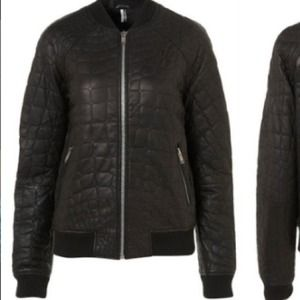 TopShop Croc Quilted Leather Bomber Jacket