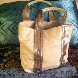 White oversized tote with silver sequined handles