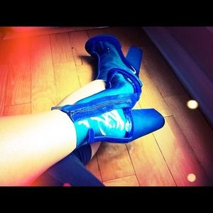 Jeffrey Campbell Boots - Jeffrey Campbell Blue Leather & Vinyl Ankle Boots