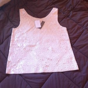 Jcrew sequin tank. Heathered champagne color