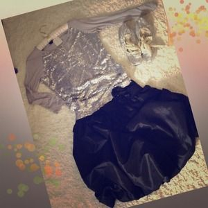 Tops - Grey Sparkle shirt and Black vintage flower skirt.