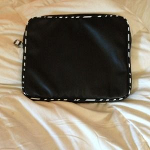 Computer Case in Faux Black Leather w/ Zebra Trim