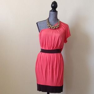 Arden B. Coral/Brown One Shoulder Dress
