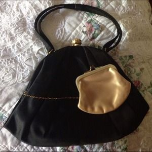 Handbags - Vintage Morris Moskowitz Black Satin Purse
