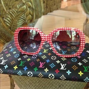 Dolce & Gabbana Accessories - Dolce & Gabanna Red Gingham Sunglasses Auth