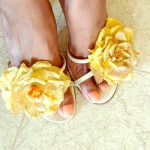 Italian Yellow/Gold Open Toed Shoes