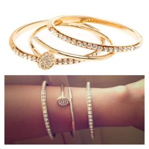 Gold Wrap Nail Bracelet & Diamond Stud Set