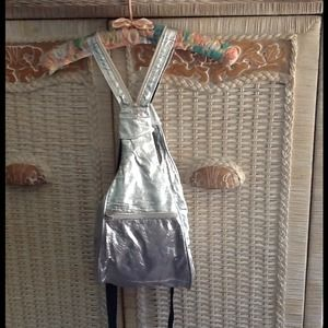 Handbags - NWOT Silver Leather Backpack