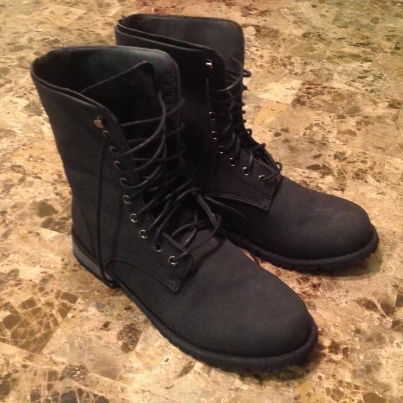 Fold Down Black Combat Boots
