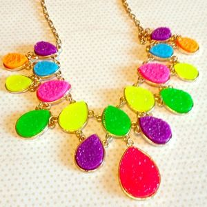 Neon Teardrop Statement Necklace