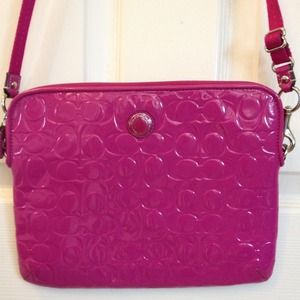 Auth COACH Embossed Patent Leather iPad Bag