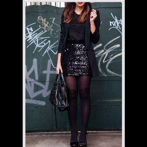 NWT Black Sequin Mini Skirt