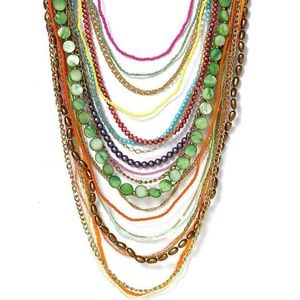 Sequin brand beaded long multi stranded necklace