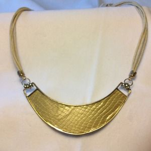 Gold snakeskin collar necklace