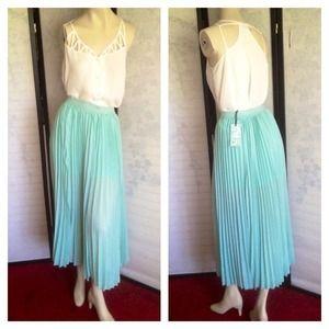 NWT Mint Green Pleated Midi Long Skirt Large