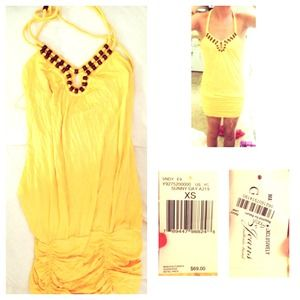 GUESS yellow tank summer dress NEW WITH TAGS