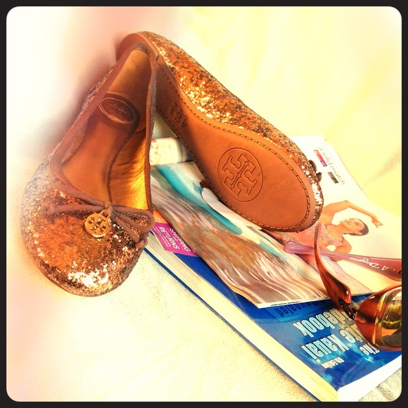 Tory Burch Shoes - Tory Burch Bronze Chelsea Glitter Ballet Flats
