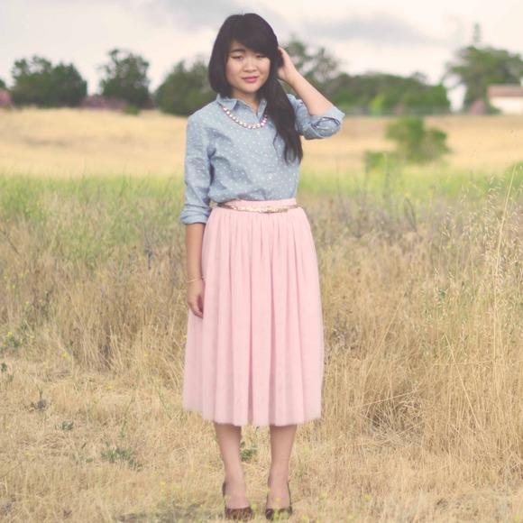 53% off Dresses & Skirts - New Pink Tulle Mesh Ballerina TuTu Midi ...