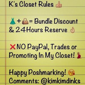Other - K's Closet Rules 👍