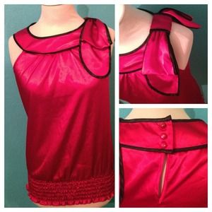 Tops - Silk red shirt with a bow!& purple dress bundle!