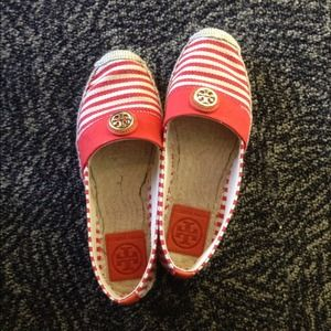 Tory Burch Beacher Striped Canvas Espadrilles