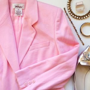Light Pink Wool Blend Blazer (Petite)