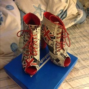 traffic Shoes - Red spiked heel booties