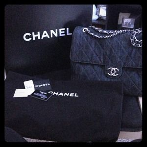 Authentic Chanel denim crossbody/shoulder bag.