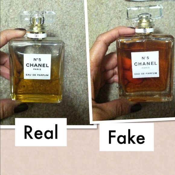 Chanel No5 perfume, comparison of Real vs Fake