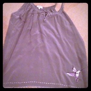 Joie grey silk top with embroidered hummingbird.