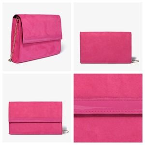 Pink oversized faux suede clutch