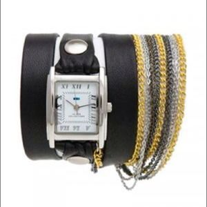 La Mer Black Multi-Chain Wrap Watch