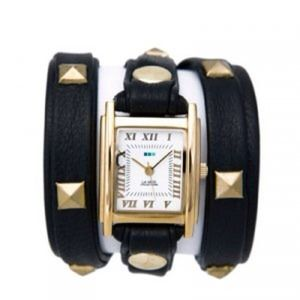La Mer Black Wrap Watch w/ Gold Pyramid Studs