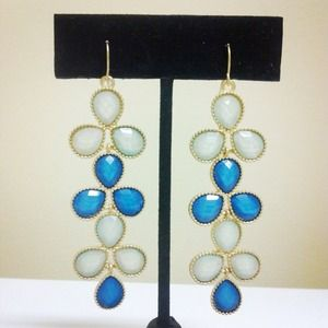 Jewelry - Blue & Gold Teardrop Dangle Earrings
