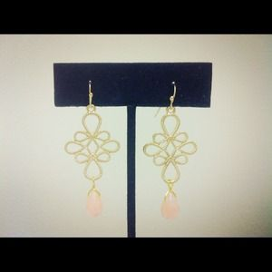 Jewelry - Gold & Light Pink Glass Dangle Earrings
