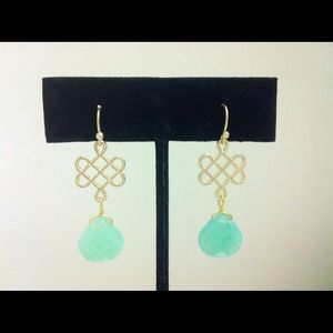 Jewelry - Gold & Seafoam Glass Stone Earrings