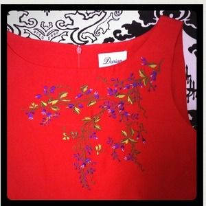Darian Tops - Beautiful Purple flower embroidered red shift tank