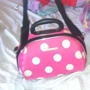 Handbags - Pink and white poka dot travel bag
