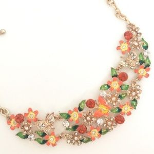NEW Orange Floral Statement Necklace